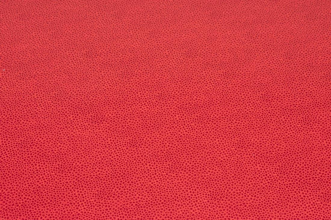 Red Leather Ottoman - 2