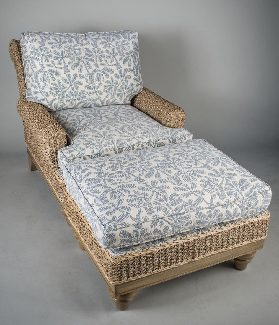 Woven Rattan Lounge Chair and Ottoman