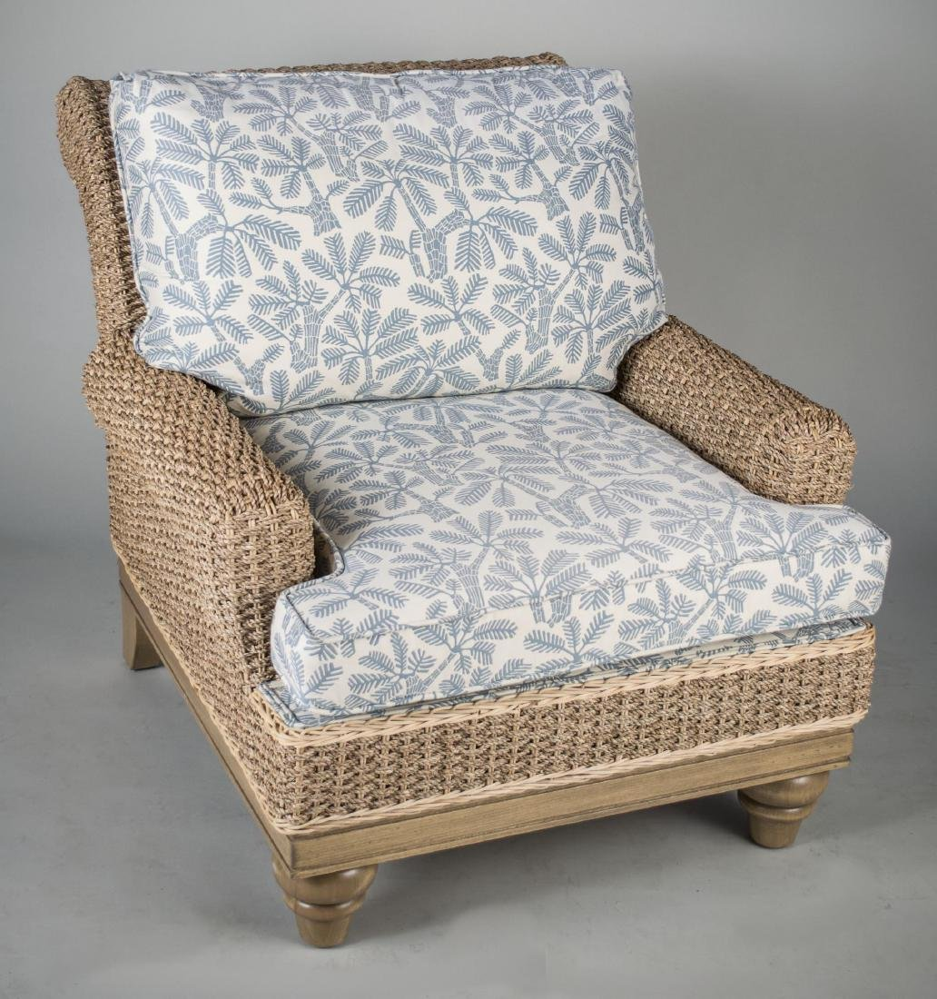 Woven Rattan Lounge Chair and Ottoman - 2