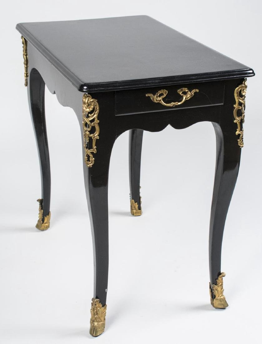 Gilt Metal Mounted Black Lacquer Side Table
