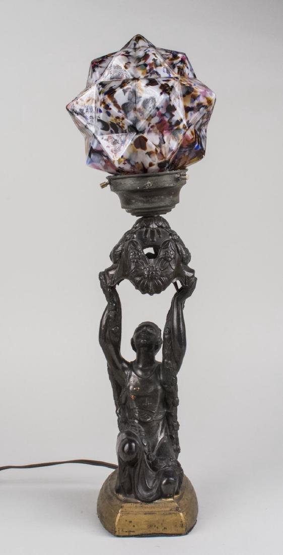 Art Nouveau Metal Figural Lamp