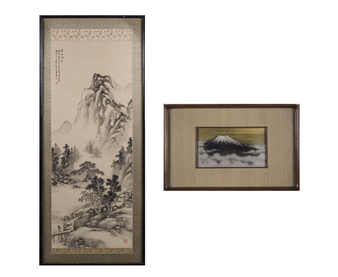 Japanese Ink Drawing and Mountain Painting