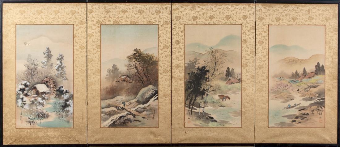 Japanese Four Panel Landscape Painting