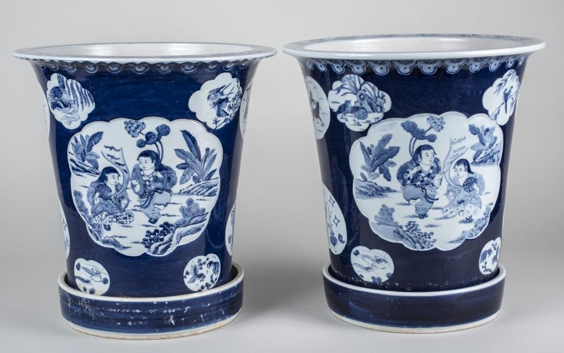 Pair of Asian Blue and White Porcelain Jardinieres