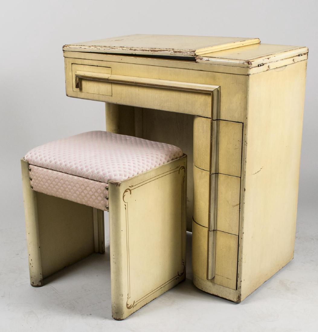 Art Deco Singer Sewing Machine in Cabinet