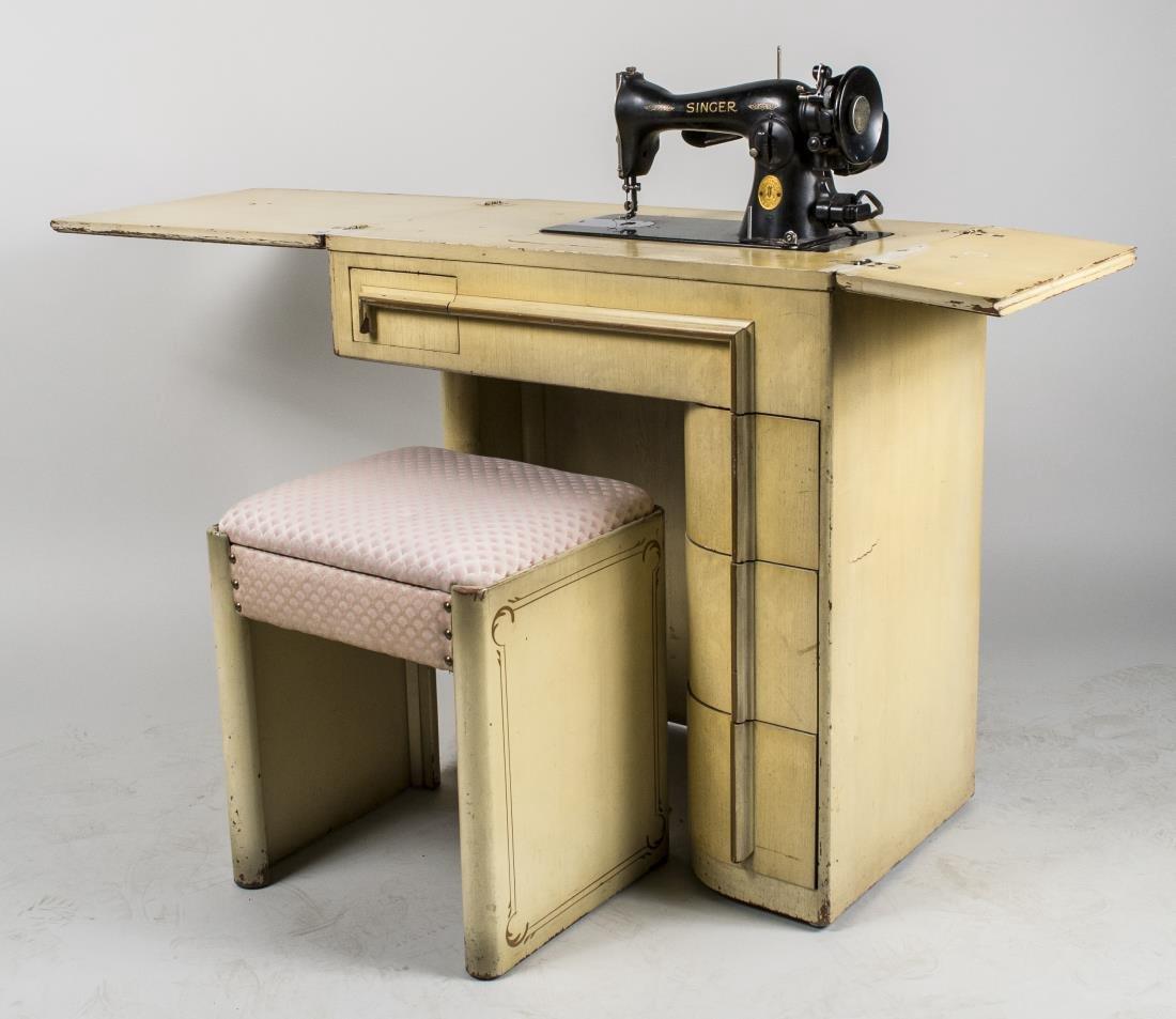 Art Deco Singer Sewing Machine in Cabinet - 2
