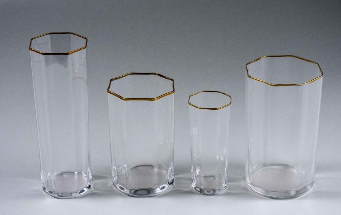 Set of Carlo Moretti Gilt Rim Octagonal Glassware