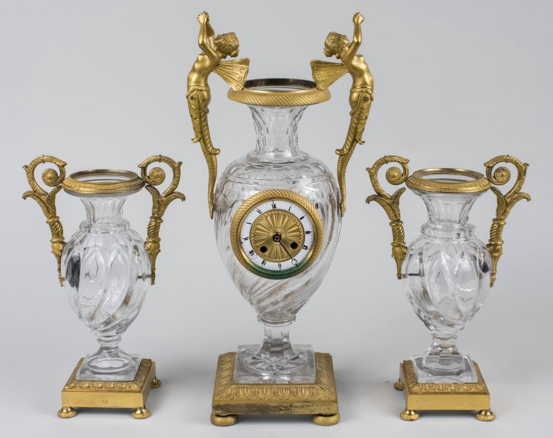 French Gilt Bronze Clock Garniture   *
