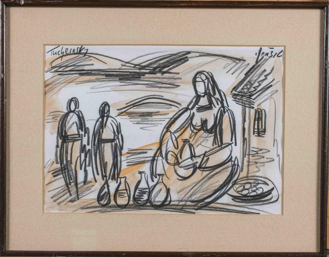 Charcoal Drawing of a Woman with Jugs in Front
