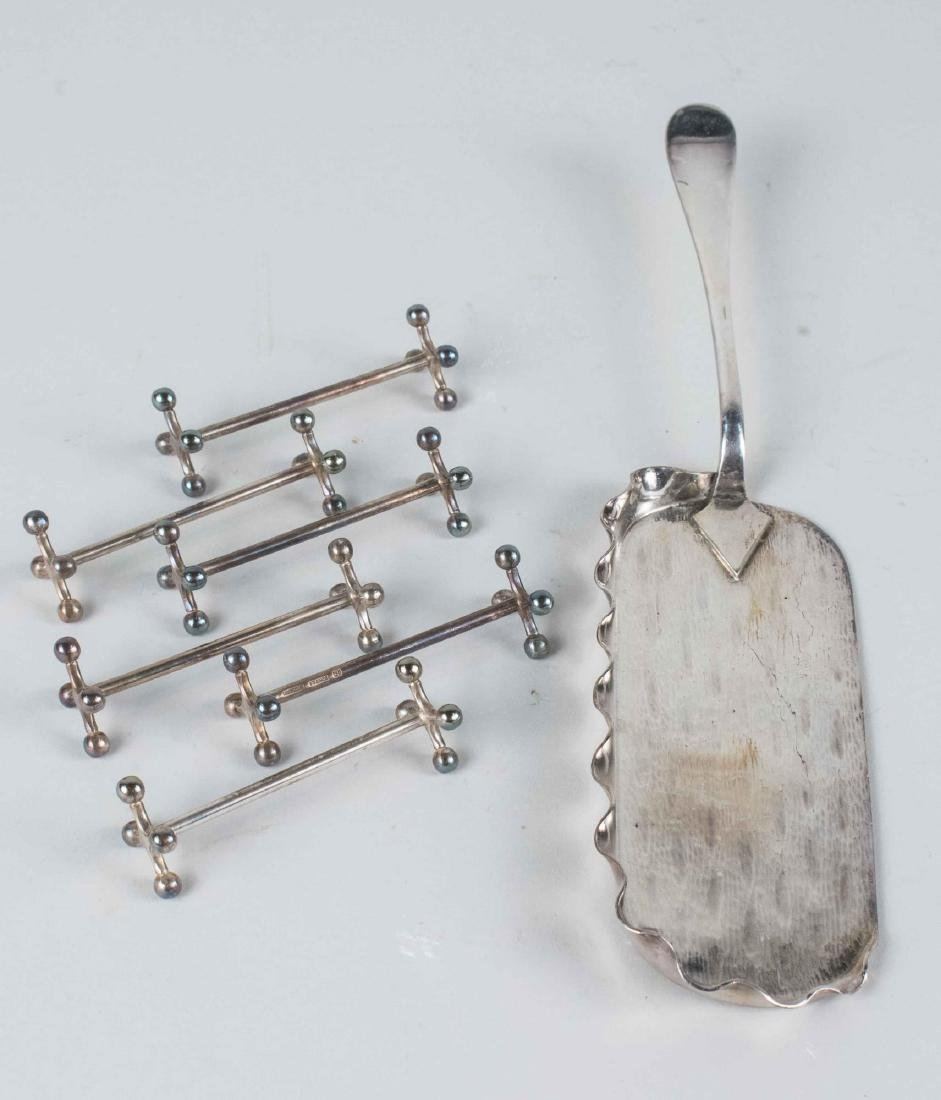 Silver Plated Crumber and Set of Knife Rests