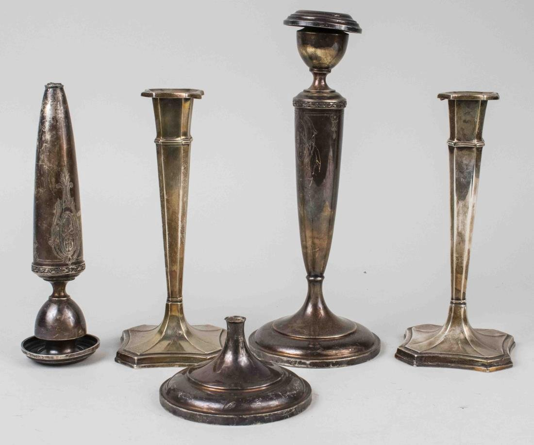 Two Pairs of Sterling Silver Candlesticks