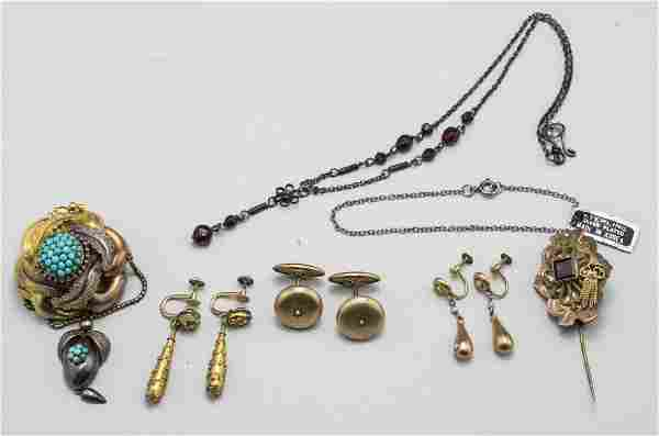 Group of Victorian Gold Tone & Silver Jewelry