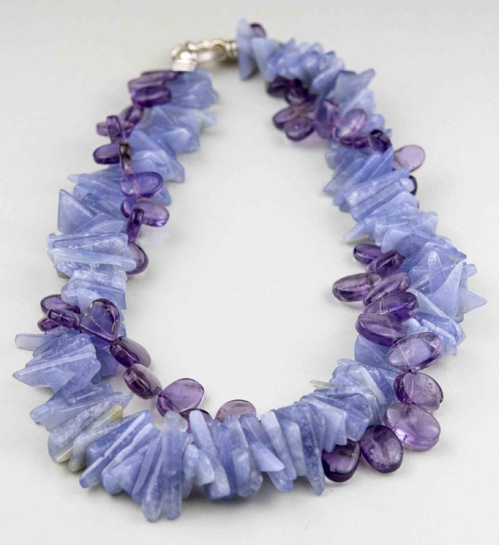 Chalcedony and Amethyst Necklace