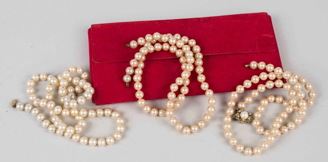 Three Simulated Pearl Necklaces