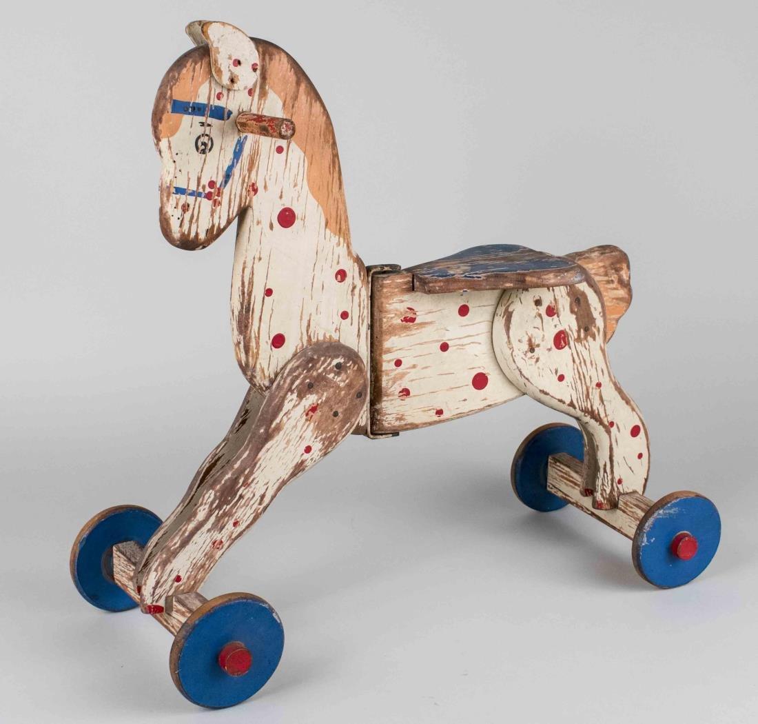Vintage Painted Wood Horse Toy