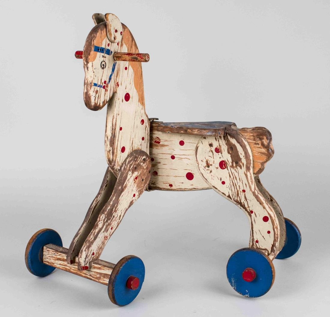 Vintage Painted Wood Horse Toy - 2