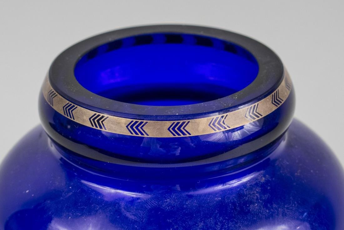 Erte Art Deco Style Blue Fireflies Vase - 3
