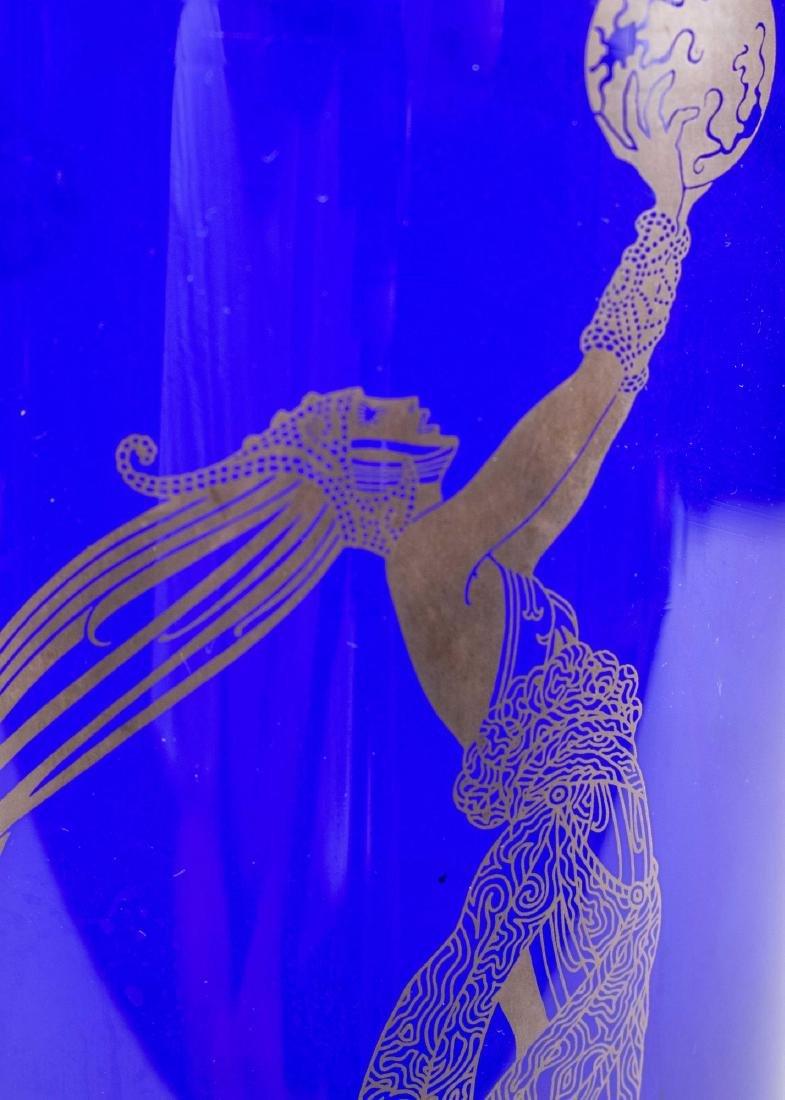 Erte Art Deco Style Blue Fireflies Vase - 4