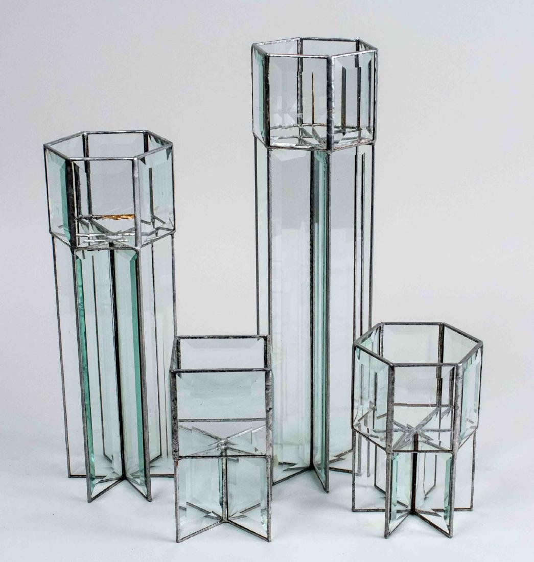 Set of Four Glass Candle Holders