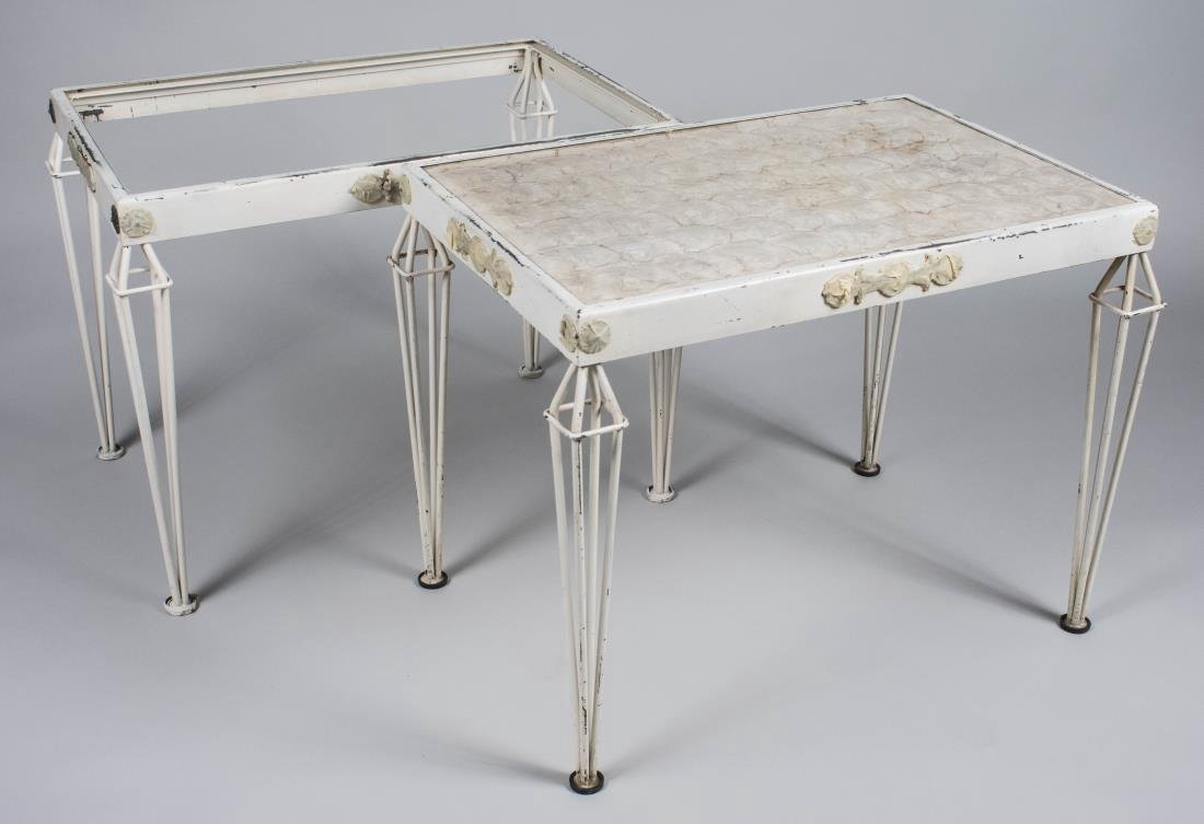Pair of White Metal Tables