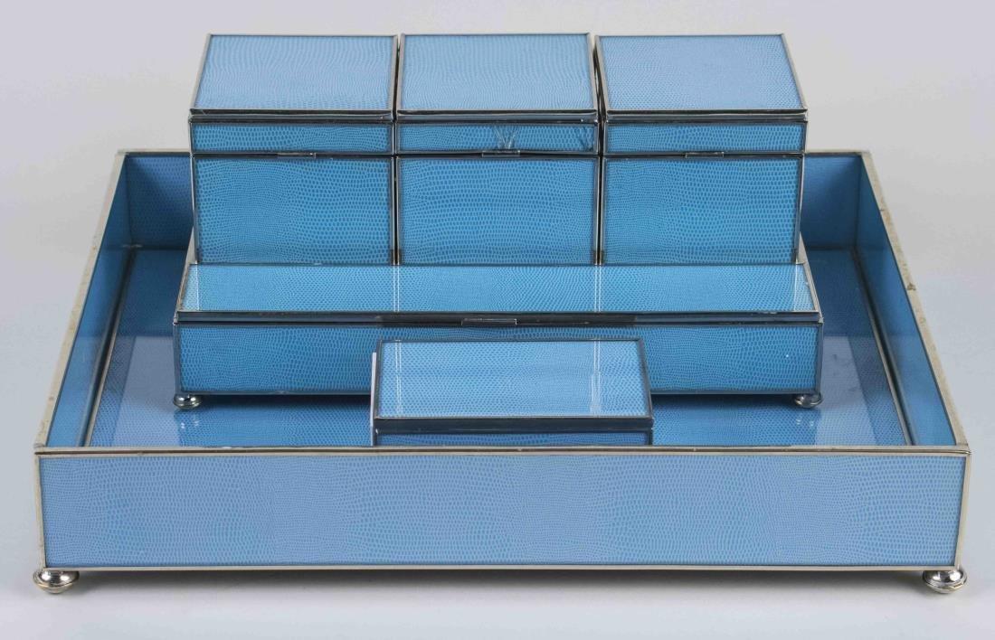 Simulated Shagreen Desk Set