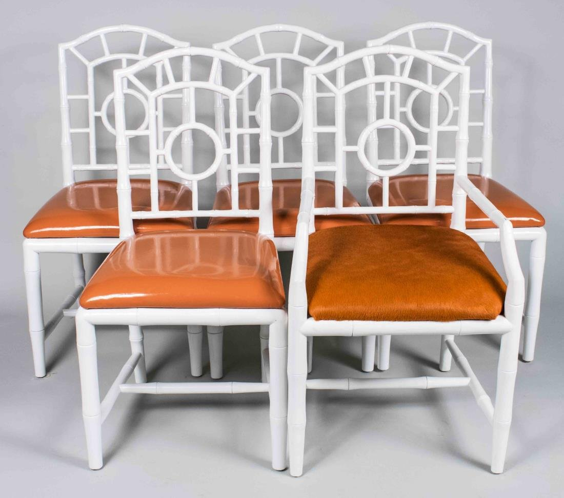 Set of White Painted Dining Chairs