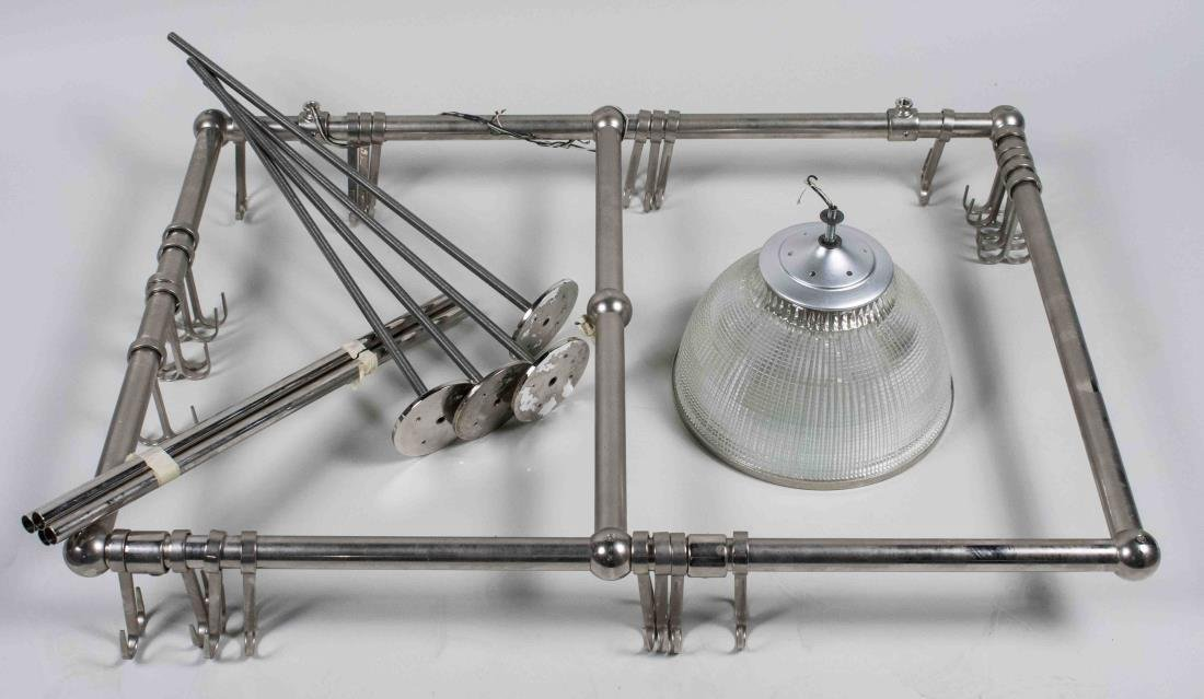 Stainless Steel Pot Rack with Ceiling Light