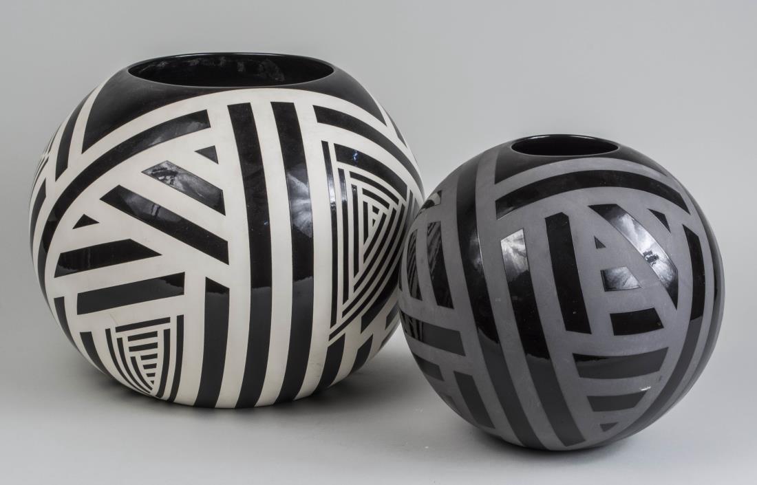 Two Modern Black and White Ceramic Vases