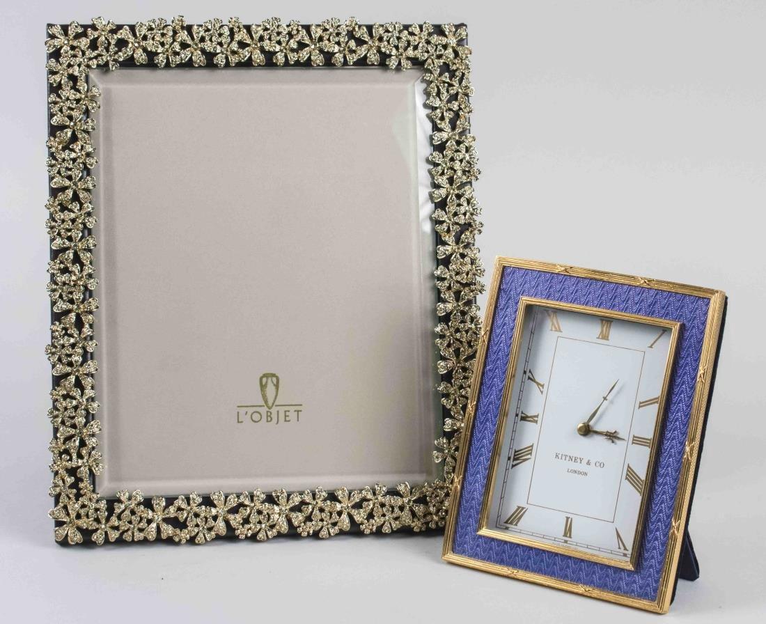 Gilt Metal Picture Frame & Desk Clock