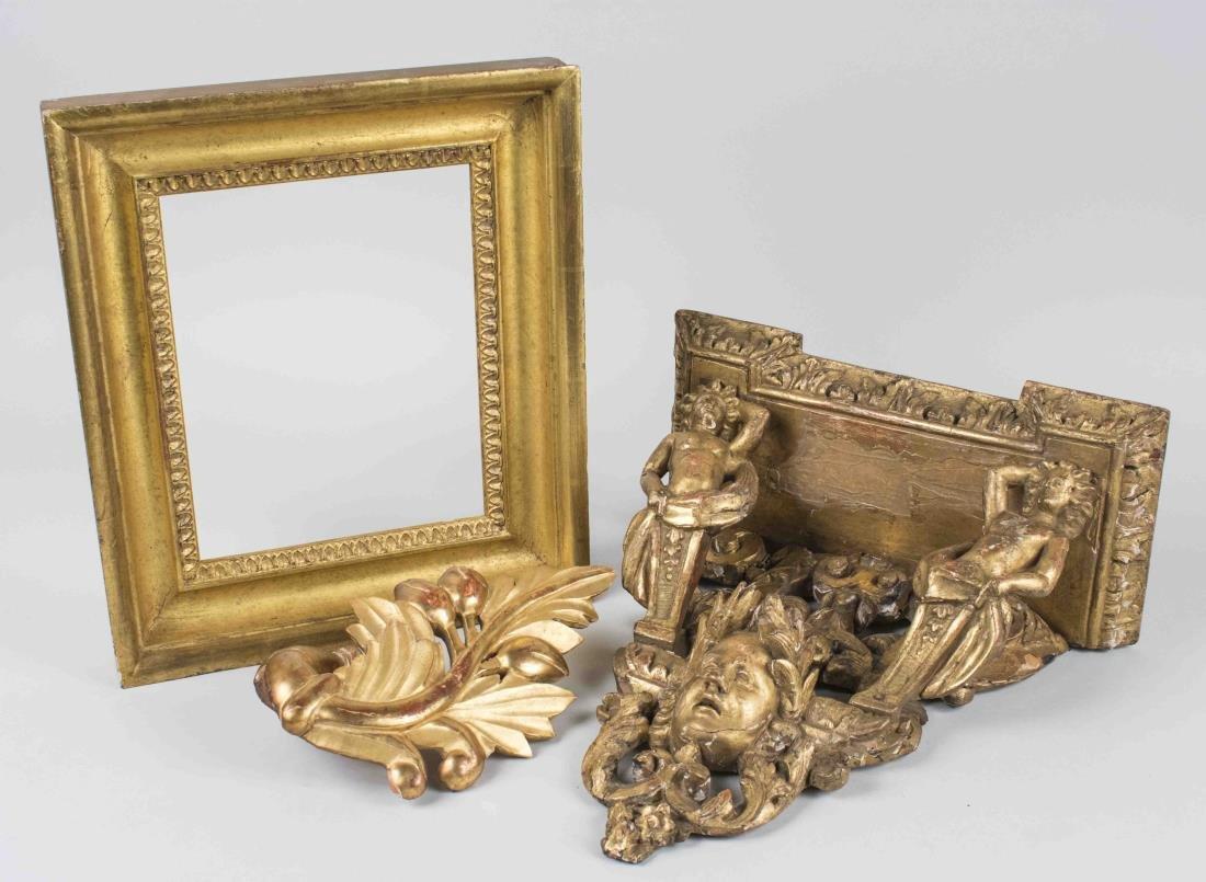 Gilt Wood Bracket, Frame and Ornament