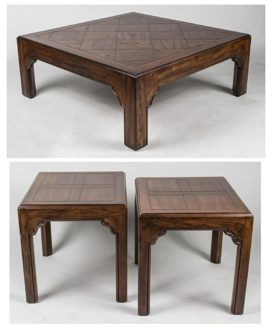 Pair of Fruitwood Lamp Tables & Coffee Table