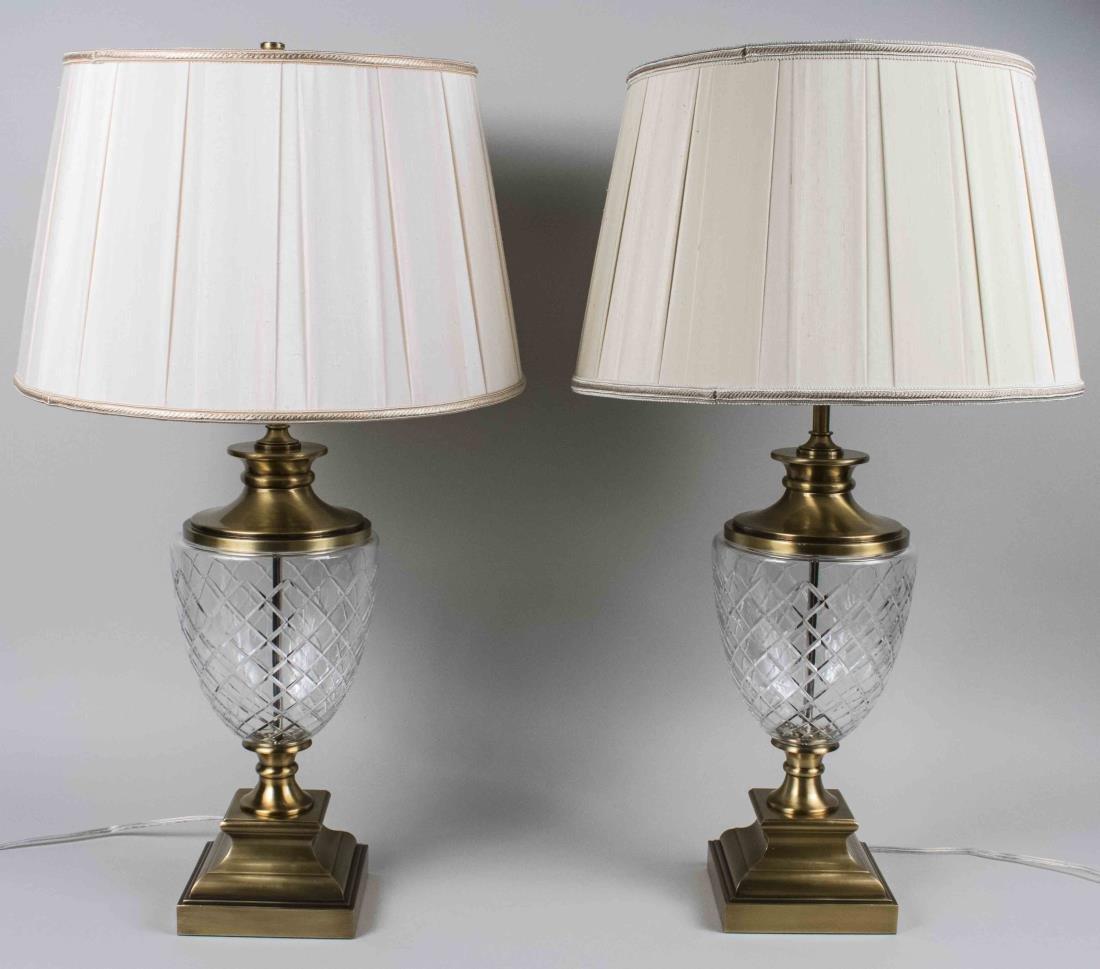Pair of Cut Glass Lamps