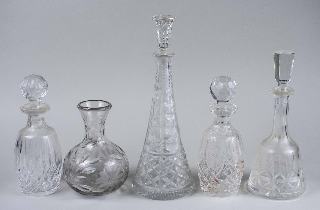 Group of Four Decanters and a Carafe