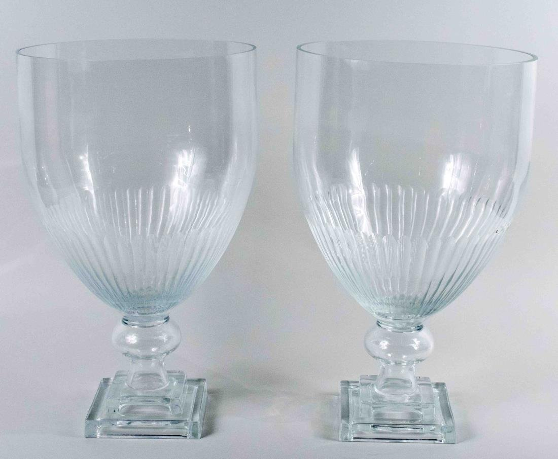 Pair of Glass Urns