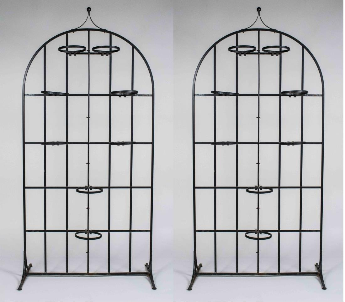 Pair of Iron Gate Plant Holders