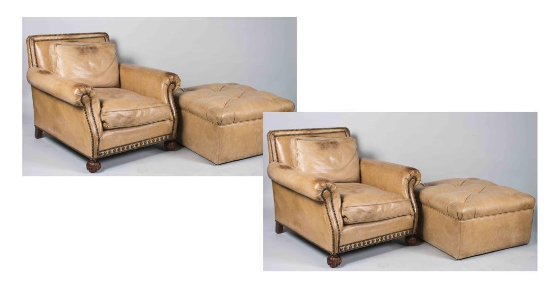 Pair of Ralph Lauren Leather Chairs & Ottomans