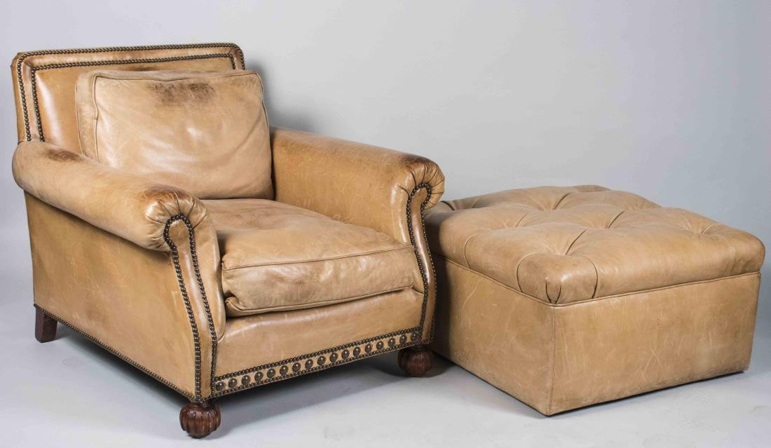 Pair of Ralph Lauren Leather Chairs & Ottomans - 2