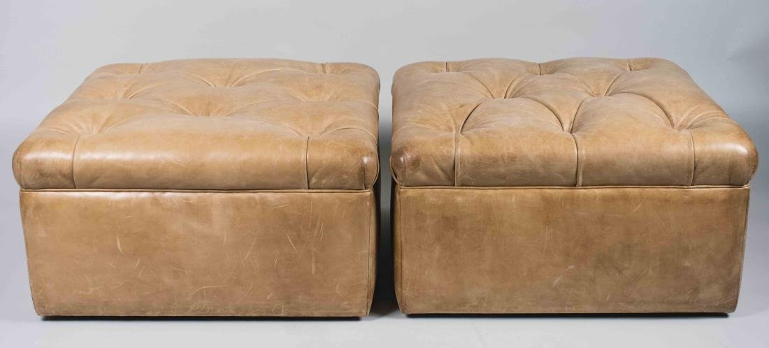 Pair of Ralph Lauren Leather Ottomans