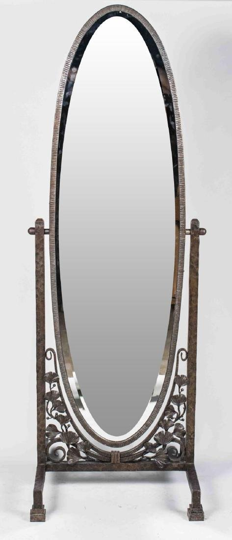 Patinated Metal Cheval Mirror