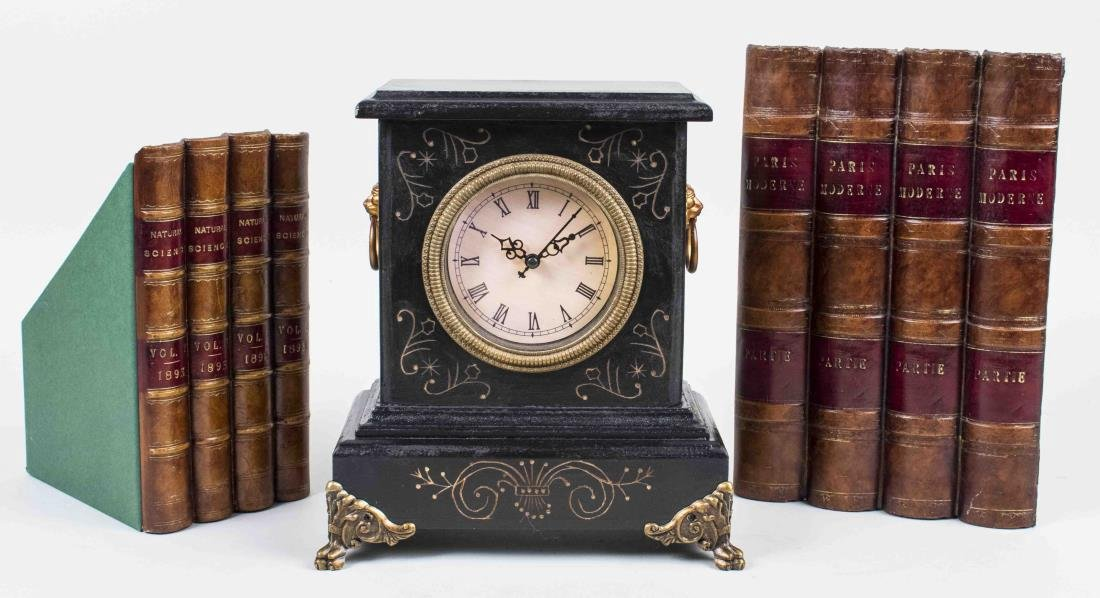Two Book Ends and a Mantel Clock