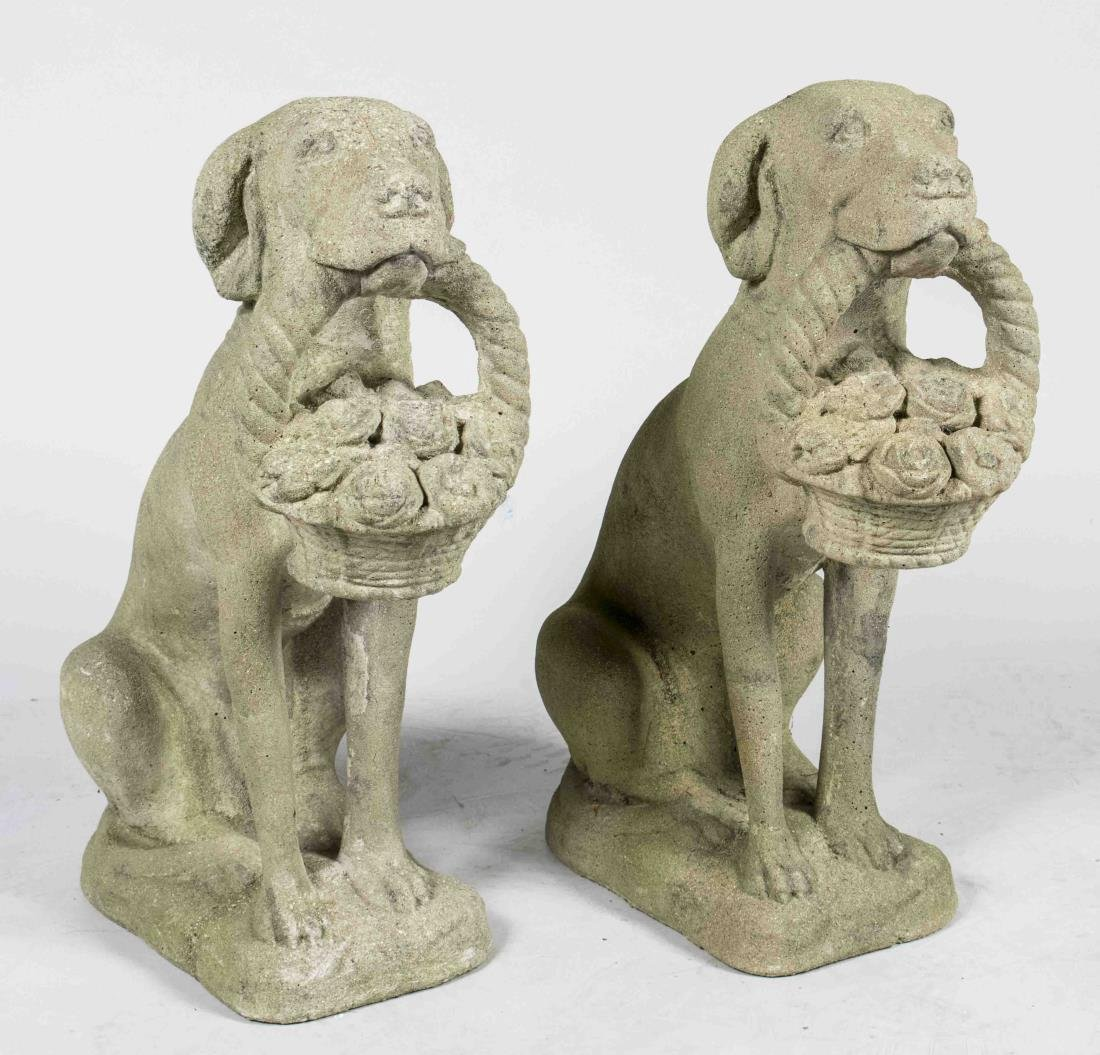 Pair of Composition Dog Garden Sculptures