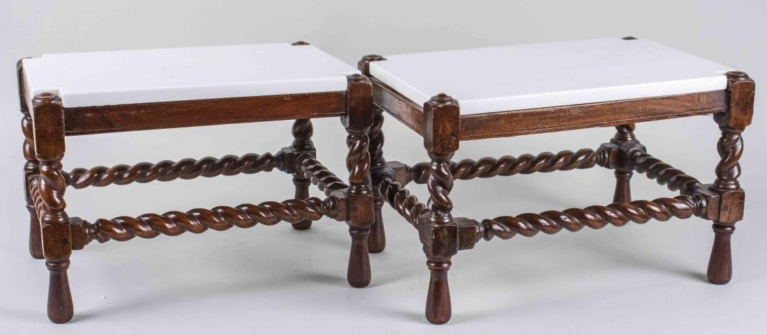 Pair of Marble Top Caned Low Tables