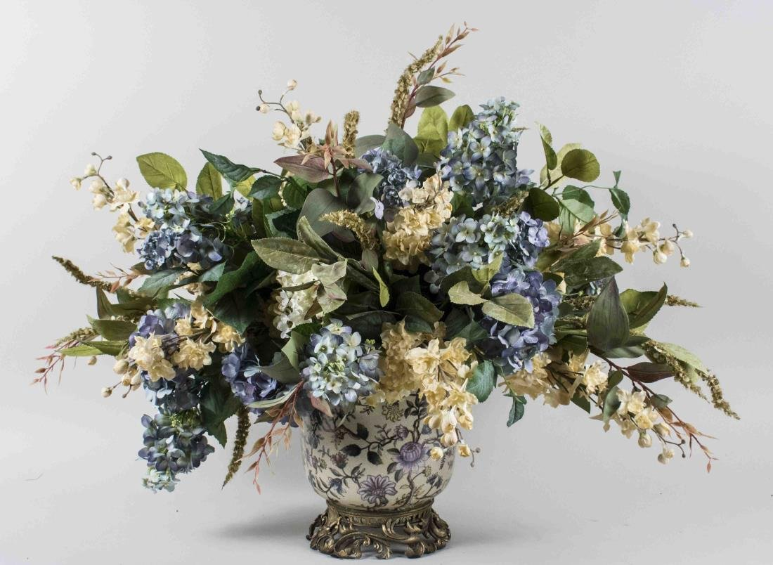 Periwinkle and Ivory Silk Flower Arrangement
