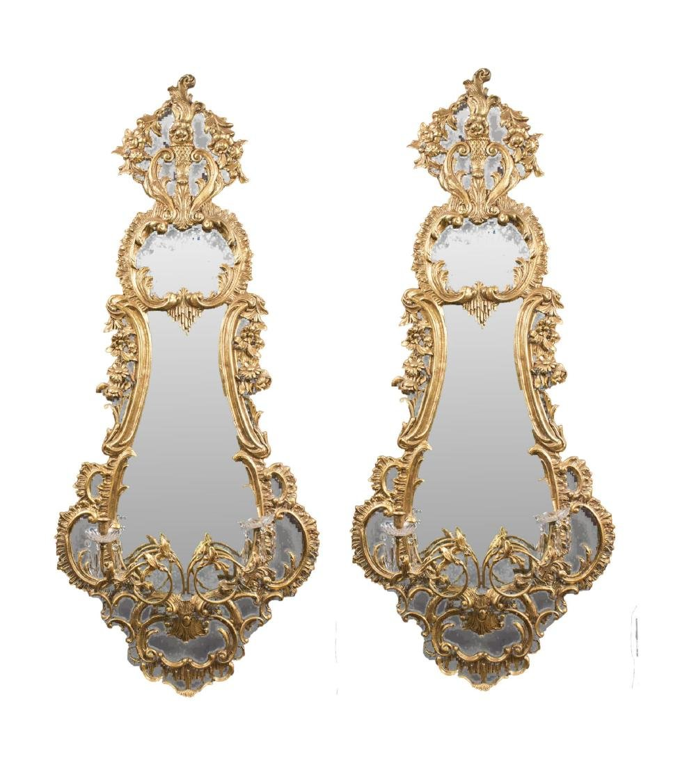 Pair of Gilt Girandole Mirrors