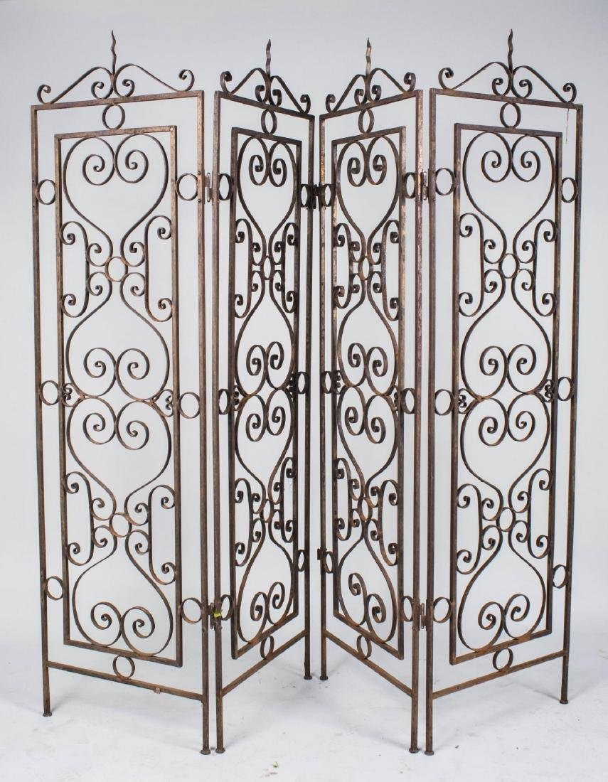 Wrought Iron Four Panel Floor Screen
