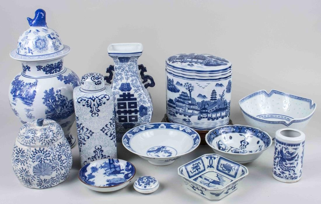 Group of Asian Blue & White Porcelain Articles