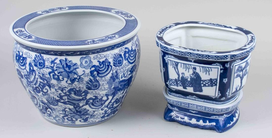 Two Asian Blue and White Porcelain Cachepots