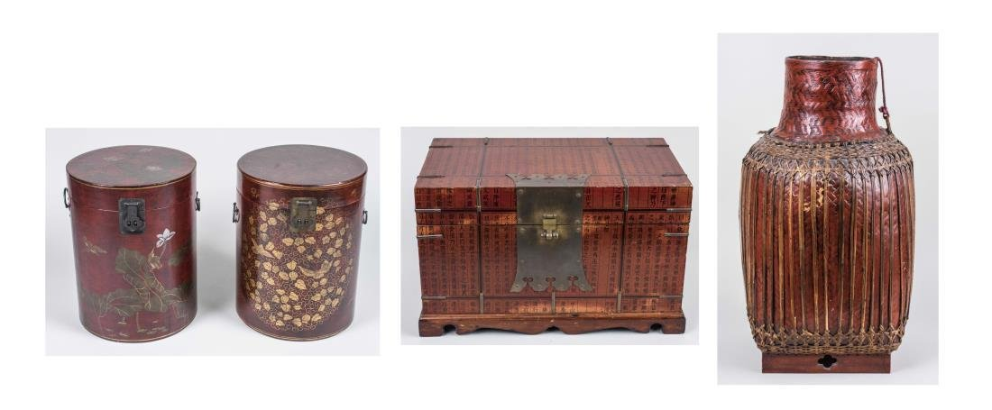 Group of Asian Lacquer Basket and Boxes