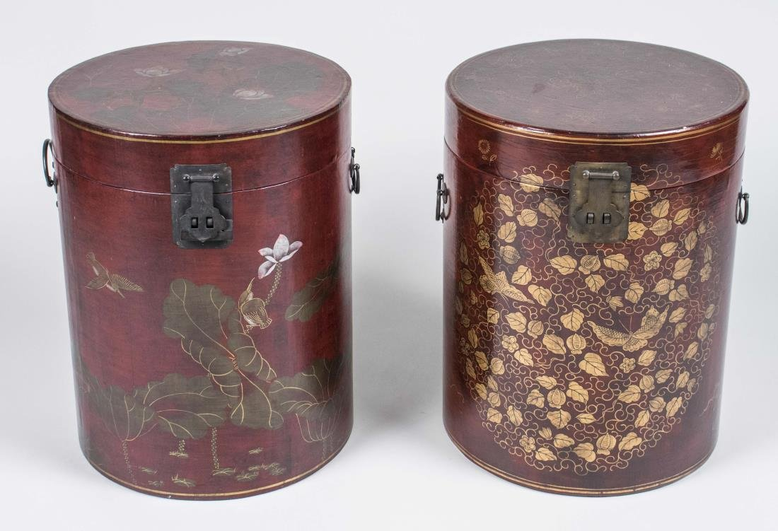 Group of Asian Lacquer Basket and Boxes - 3