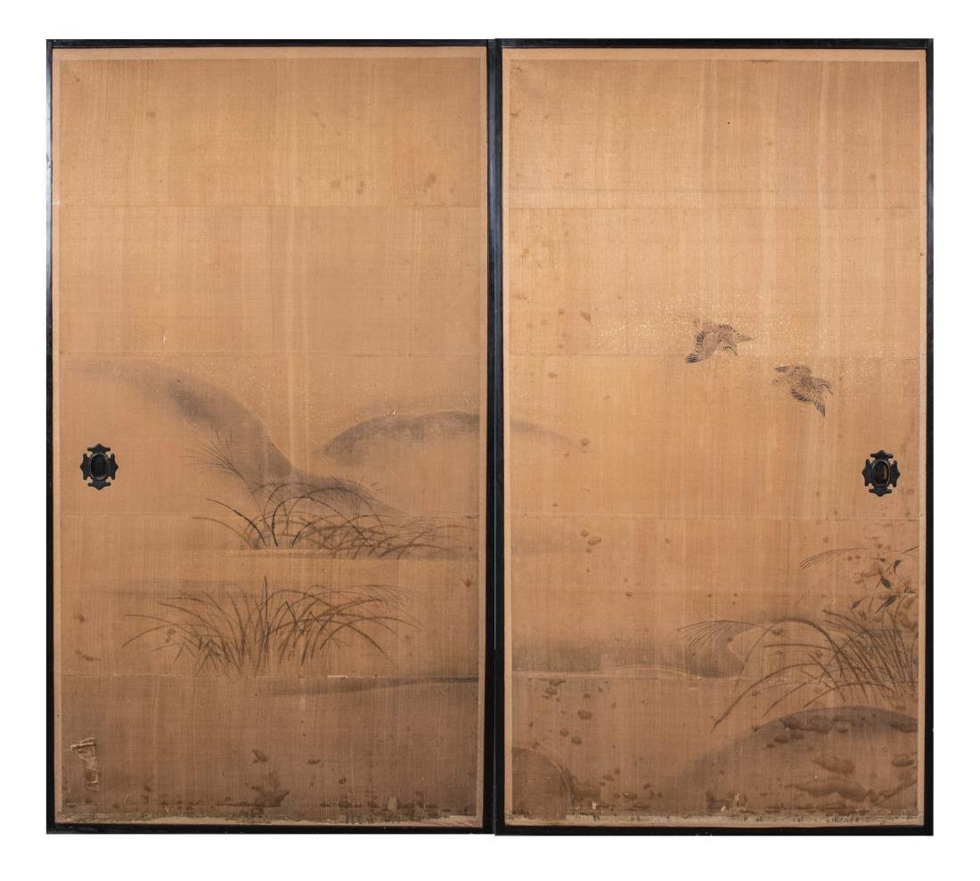 Two Japanese Painted Door Panels